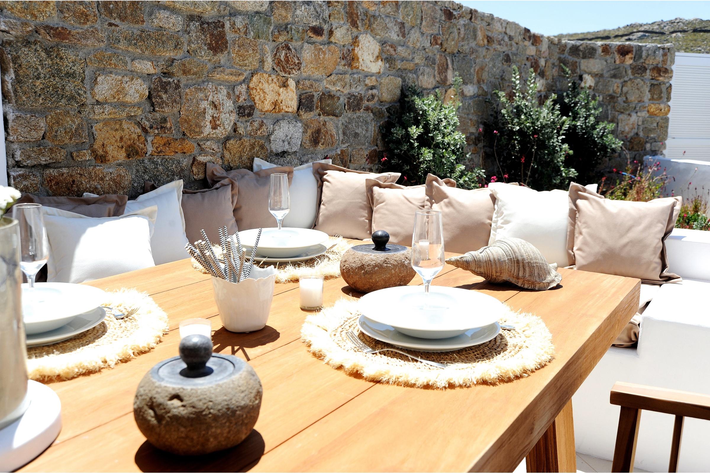 villa thetos panormos bay alfresco dining