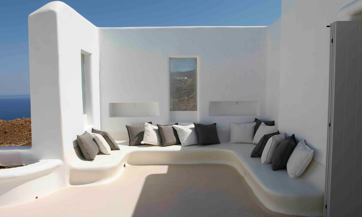 seating area villa fanari sunset mykonos