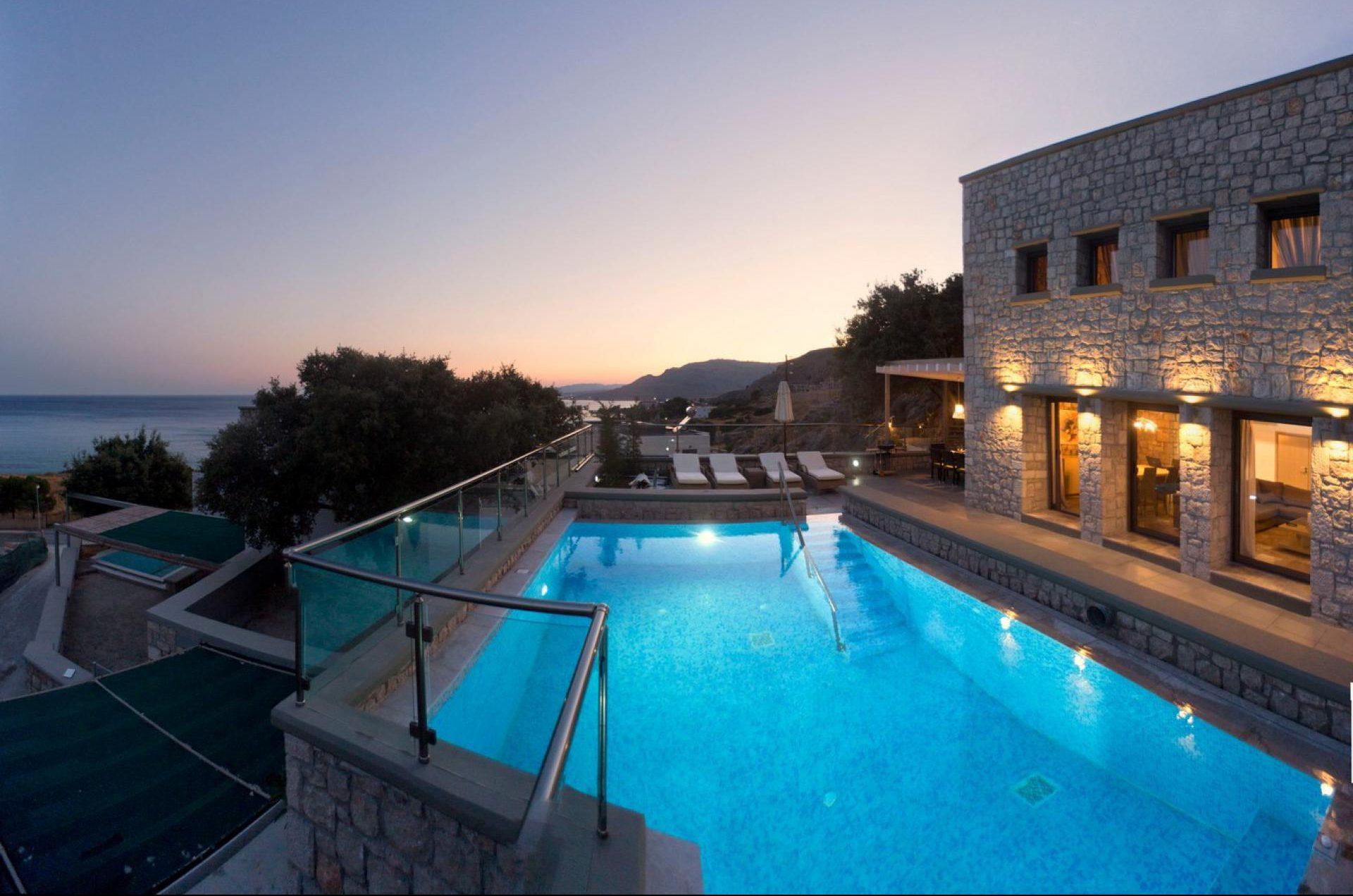 luxury villas pools rhodes