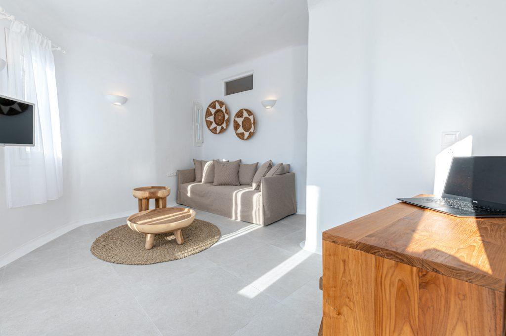 living area ornos beach villas